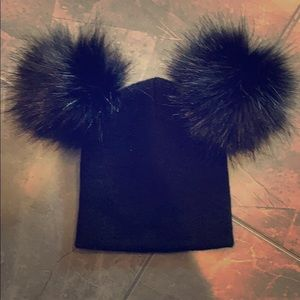 Accessories - Baby girl black double Pom hat